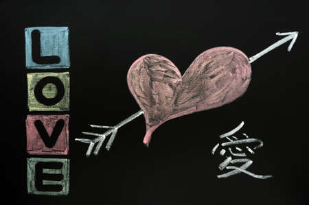 Love with Chinese character drawn in colorful chalk on a chalkboard  photo