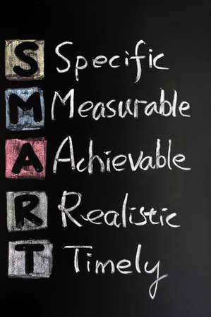 doelen: Smart doel concept op blackboard voor het instellen van het management doelstellingen
