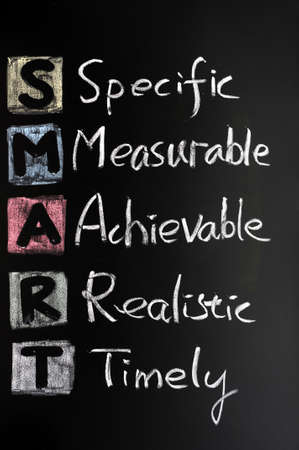 business goal: Smart goal concept on blackboard for setting management objectives