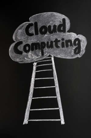 Cloud computing concept drawn with chalk on blackboard photo