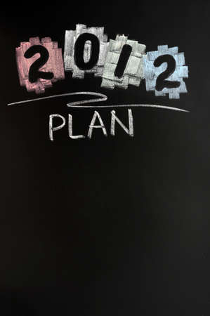 2012 New year plan drawn with chalk on blackboard photo
