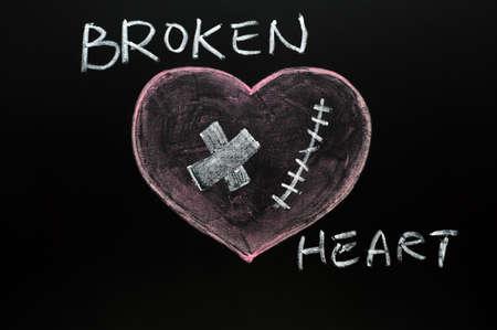 breakup: Broken heart drawn with chalk on a blackboard