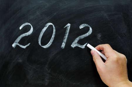 Blackboard  chalkboard with a handwriting of year 2012.  photo