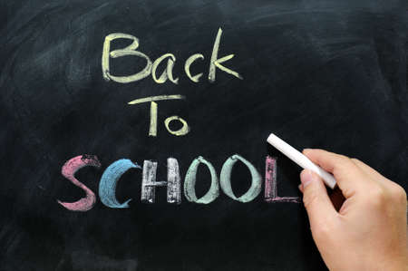 Chalkboard Background with a handwriting of back to school photo
