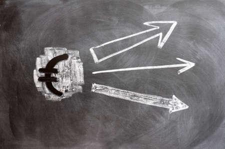 Euro symbol with up arrows on blackboard Stock Photo - 11888592