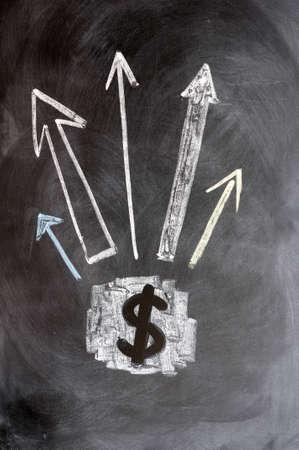 write us: US Dollar symbol with up arrows on blackboard