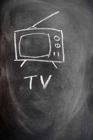 TV set drawn in chalk on a blackboard photo