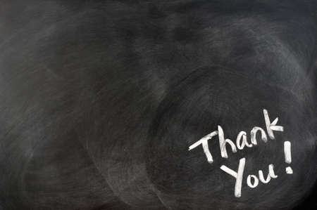 note of exclamation: Thank you written in chalk on blackboard with copy space for extra text