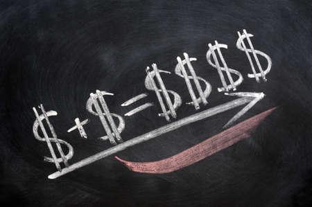 Dollar sign formula written in chalk on blackboard photo
