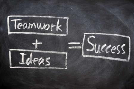 Teamwork concept written with chalk on blackboard photo