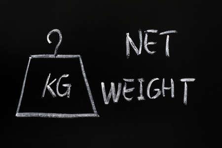 kg: Net weight symbol written in chalk on blackboard