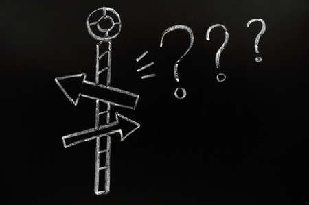 Confusing directions drawn with chalk on blackboard Stock Photo - 11888563
