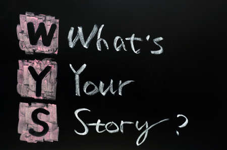 your: Whats your story written in chalk on a blackboard
