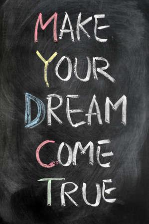 Make your dream come true written on blackboard photo