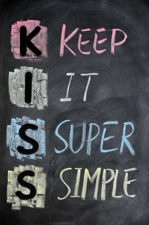 meaning: KISS acronym written in colorful chalk on a blackboard