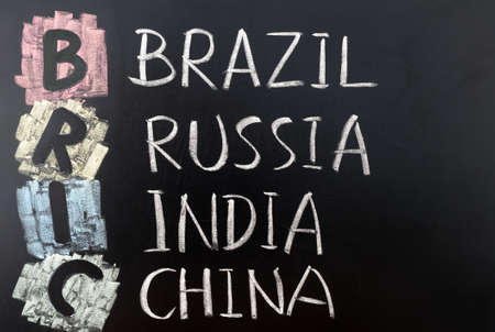 bric: BRIC acronym for  Brazil, Russia, India and China Stock Photo