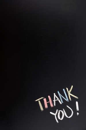 you black: Gracias de fondo con copia espacio en una pizarra Foto de archivo