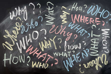 Background of all questions written in chalk on a blackboard Stock Photo - 11939601