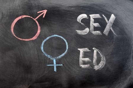 Sex education with gender symbols written on a blackboard Stock Photo - 11939600