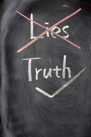 honest: Crossing out lies and choosing truth on a blackboard Stock Photo