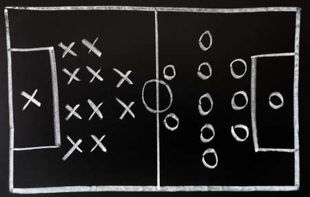 tactic: Soccer formation tactics drawn in chalk on a blackboard