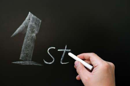 abbreviation: Word of First abbreviation written in chalk on a blackboard Stock Photo