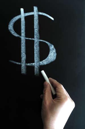 US dollar sign written in chalk on a blackboard photo