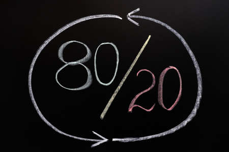 Pareto eighty-twenty principle written in chalk on a blackboard photo