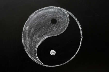 tai chi: Tai Chi or yingyang symbol drawn in chalk on a blackboard