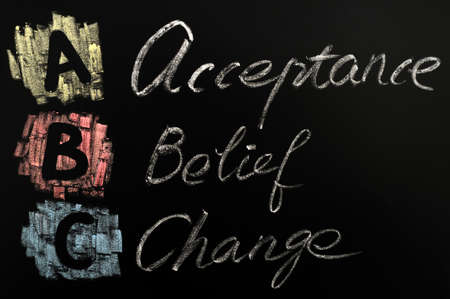 acceptance: Acronym of ABC written in colorful chalk on a blackboard