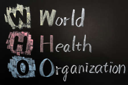 acronym: Acronym of WHO - World Health Organization written on a blackboard Stock Photo