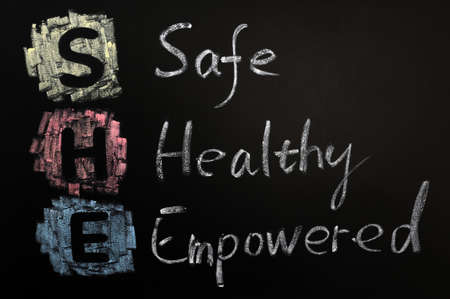 empowered: Acronym of SHE - Safe,Healthy and Empowered written on a blackboard