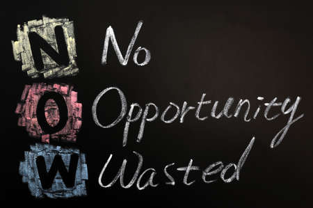 wasted: Acronym of NOW - No Opportunity Wasted written on a blackboard