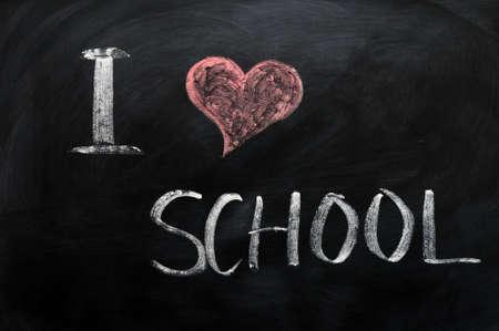 I love school - text written with chalk on a blackboard photo