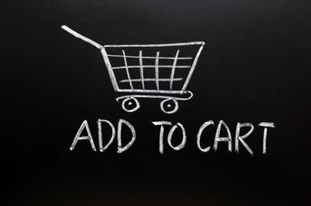 add button: Add to cart concept drawn in chalk on a blackboard