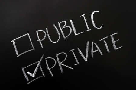 public private: Public and private check boxes on a blackboard