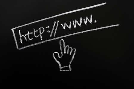 website wide window world write www: Website address drawn in chalk on a blackboard Stock Photo