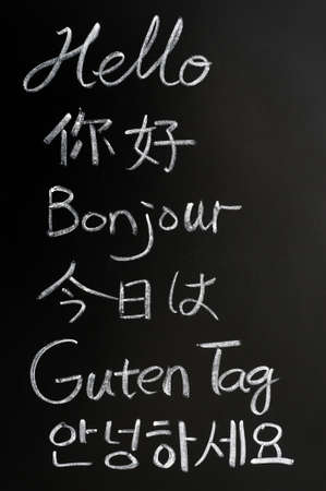 hello: Hello written in different languages on a blackboard