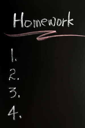 assignment: Homework list background written with chalk on a blackboard