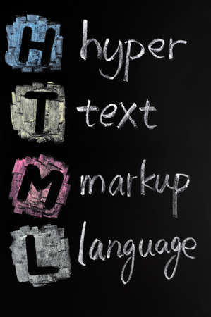 HTML acronym - hyper text markup language written in chalk on a blackboard Stock Photo - 11939460
