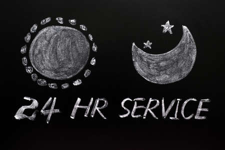 24 hour: Day and night 24 hour service concept drawn on a blackboard Stock Photo
