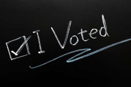 """Check box of """"I voted"""" on a blackboard"""