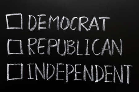 Check boxes of democrat, republican and independent written on a blackboard Stock Photo - 11939448