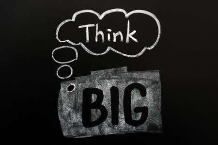 the big idea: Think big handwritten in chalk on a blackboard Stock Photo