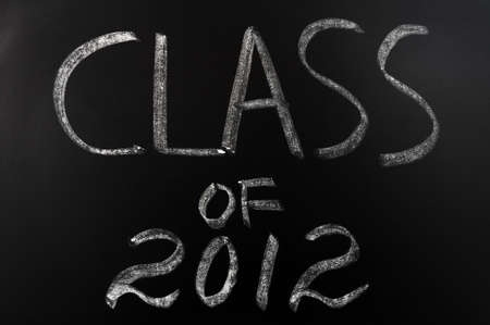 Class of 2012 written with chalk on a blackboard photo