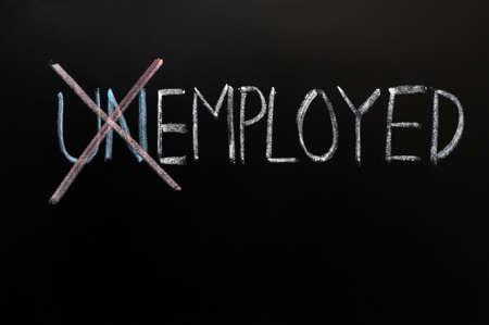 recruitment: Employed Chalk drawing,from unemployed into employed.   Stock Photo