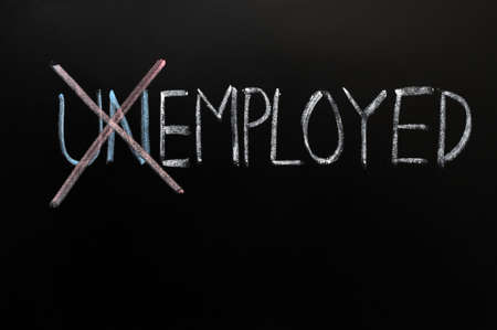 Werkzaam Krijttekening, van werklozen in dienst. Stockfoto