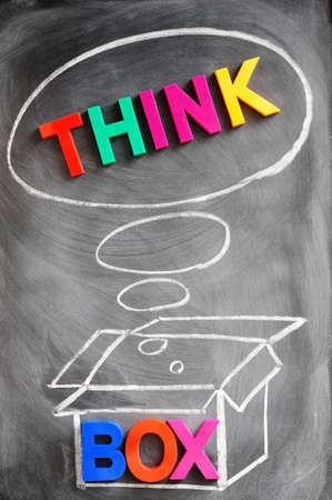 thinking outside the box: Think outside the box - concept made of colorful letters and chalk drawing