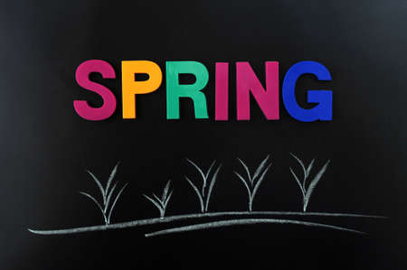 Concept of the spring on a blackboard photo