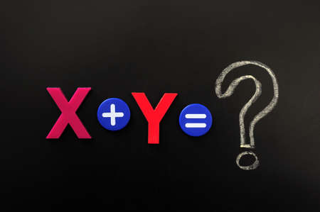 Math formula of x plus y on a blackboard photo